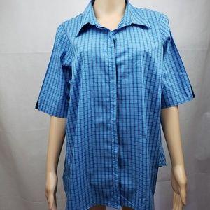 🔵5/$50🔵 Venezia Jeans Blue Plaid Button Down